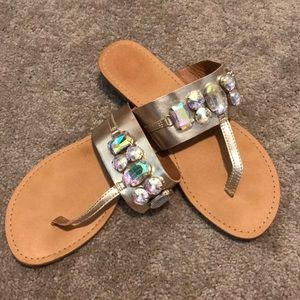 Gold rhinestone sandals 8